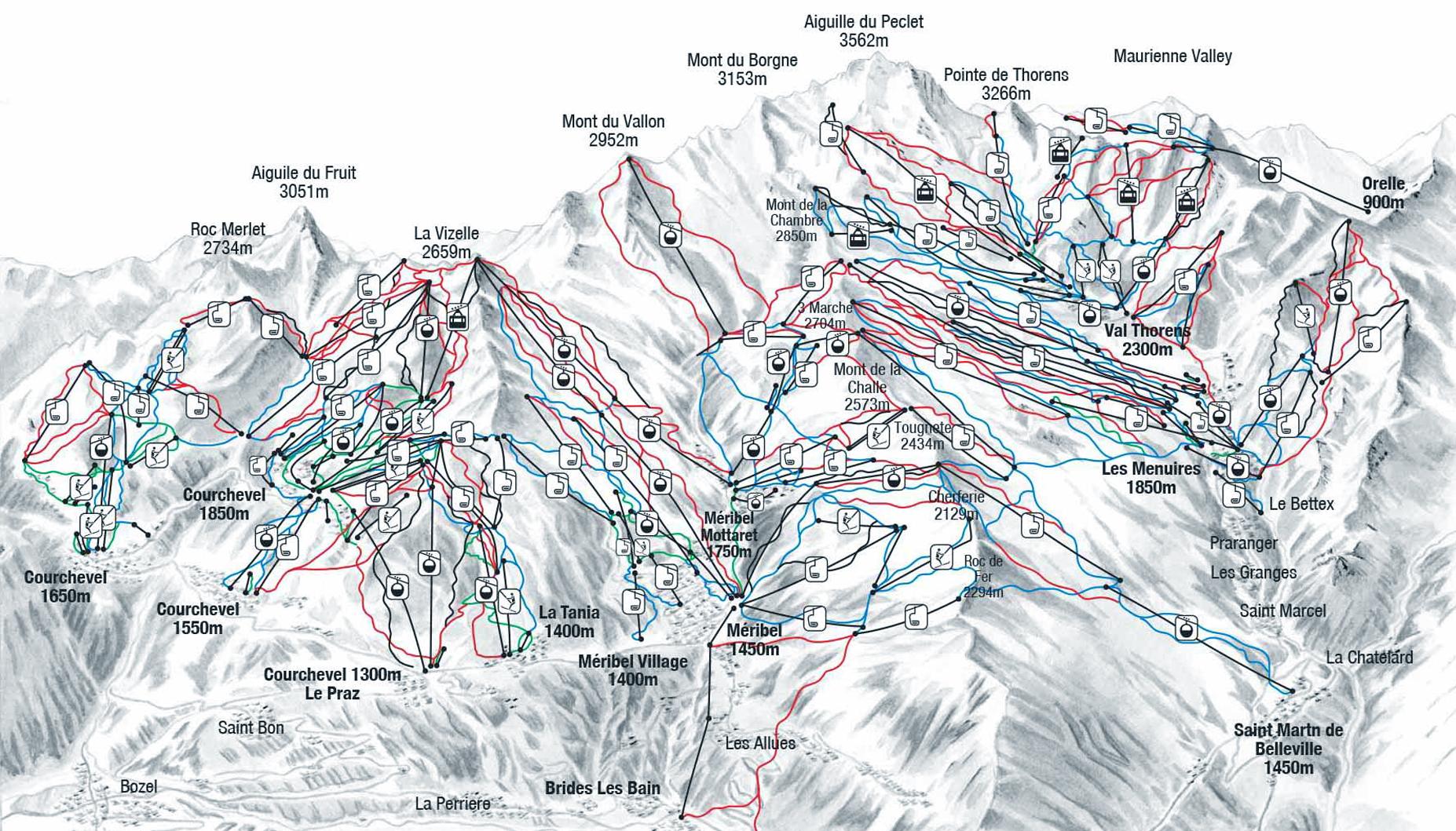 Courchevel Схема трасс, маршрутов