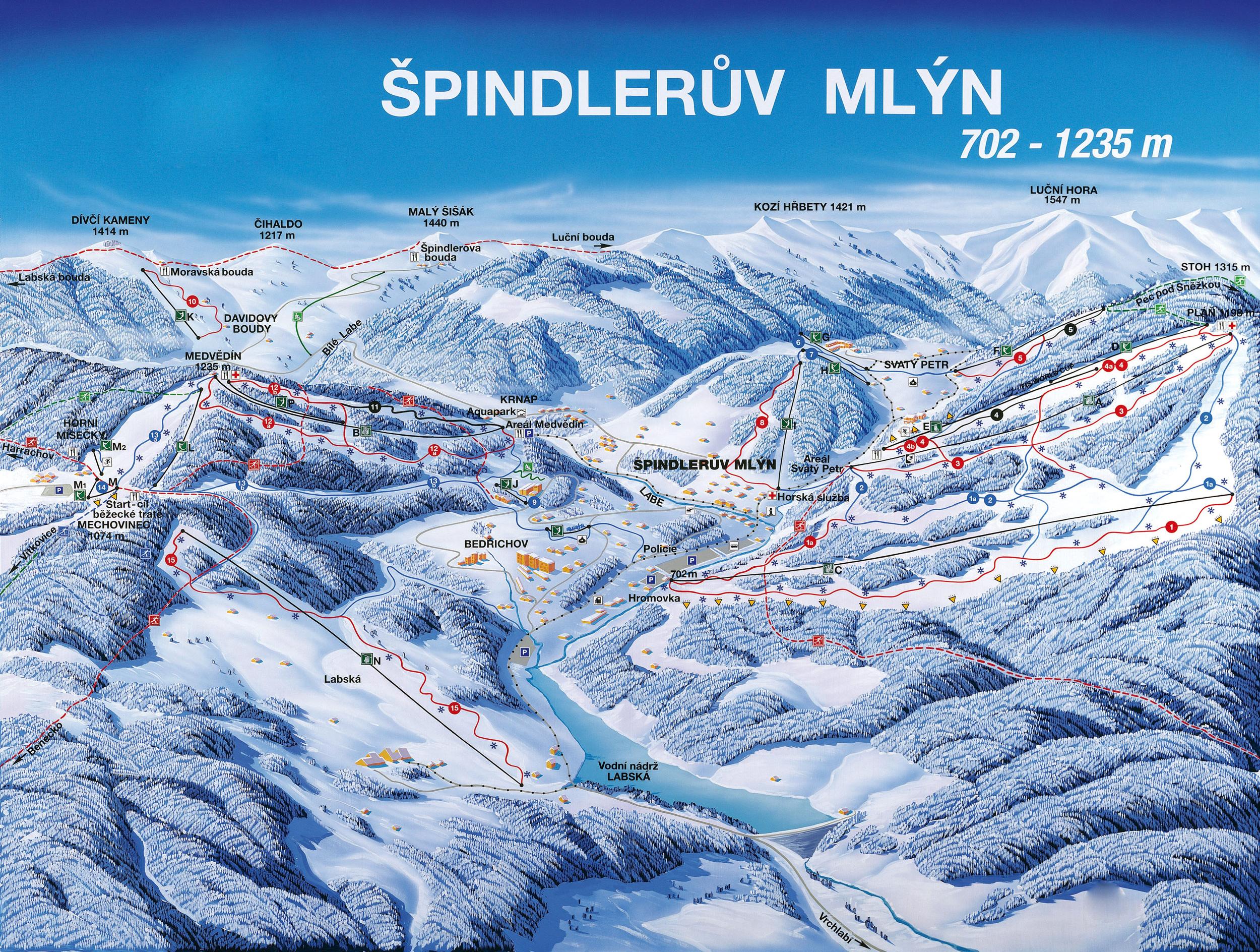 Карта горнолыжного курорта Шпиндлерув Млын